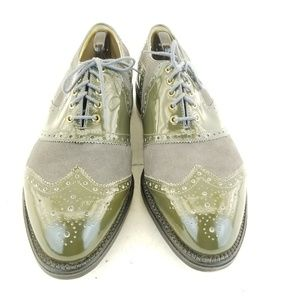 BOSTONIAN MENS VTG Gray SUEDE PATENT LEATHER WINGT